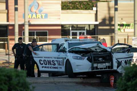 Harris County deputy constable, daycare van crash in west