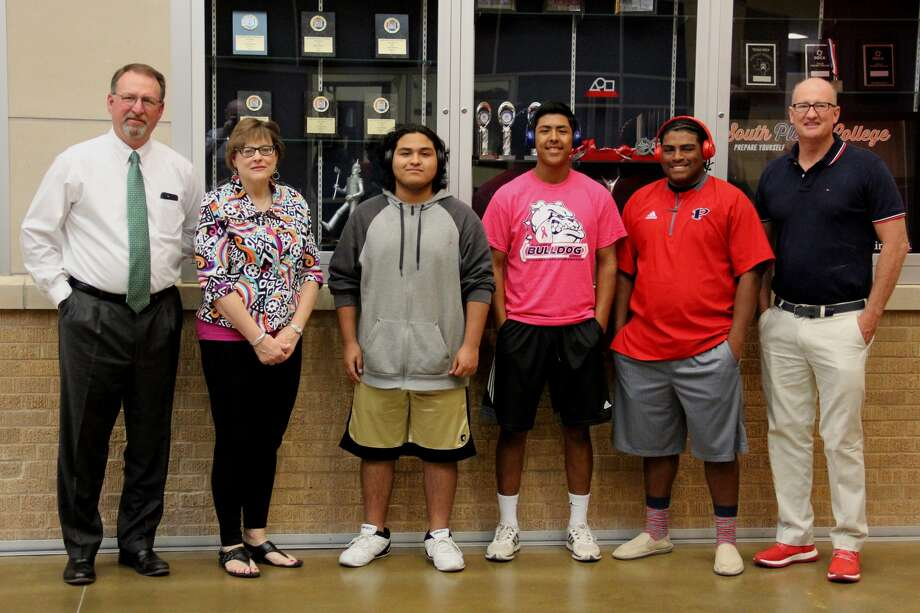 Perfect Attendance Award winners at Plainview High School for the fifth and sixth six-weeks grading period are students Sebastion Ceballos (center left), Andrew Villa and Jaylon Borrego. On hand for the prize presentation are PHS Principal Brandt Reagan (left) and Plainview Rotary Club representatives Deana Sageser and PHS Girls Basketball Coach Danny Wrenn. Rotary sponsors the attendance awards.