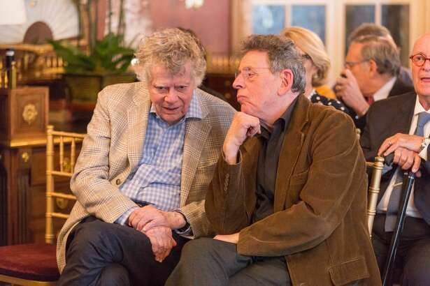 Gordon Getty and Philip Glass attend Gordon and Ann Getty Host Opera Parallele with Composer Philip Glass on May 11th 2017 at Private Residence in San Francisco.