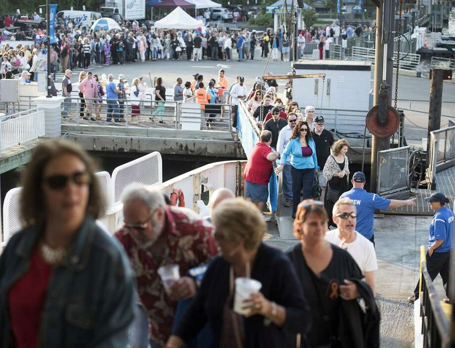 Festival patrons queue to board the Bridgeport-Port Jefferson Ferry at last year's Barnum Sails the Sound event. This year the cruise will take place Saturday, May 20 Photo: Autumn Driscoll / Contributed Photo / Autumn Lind Driscoll