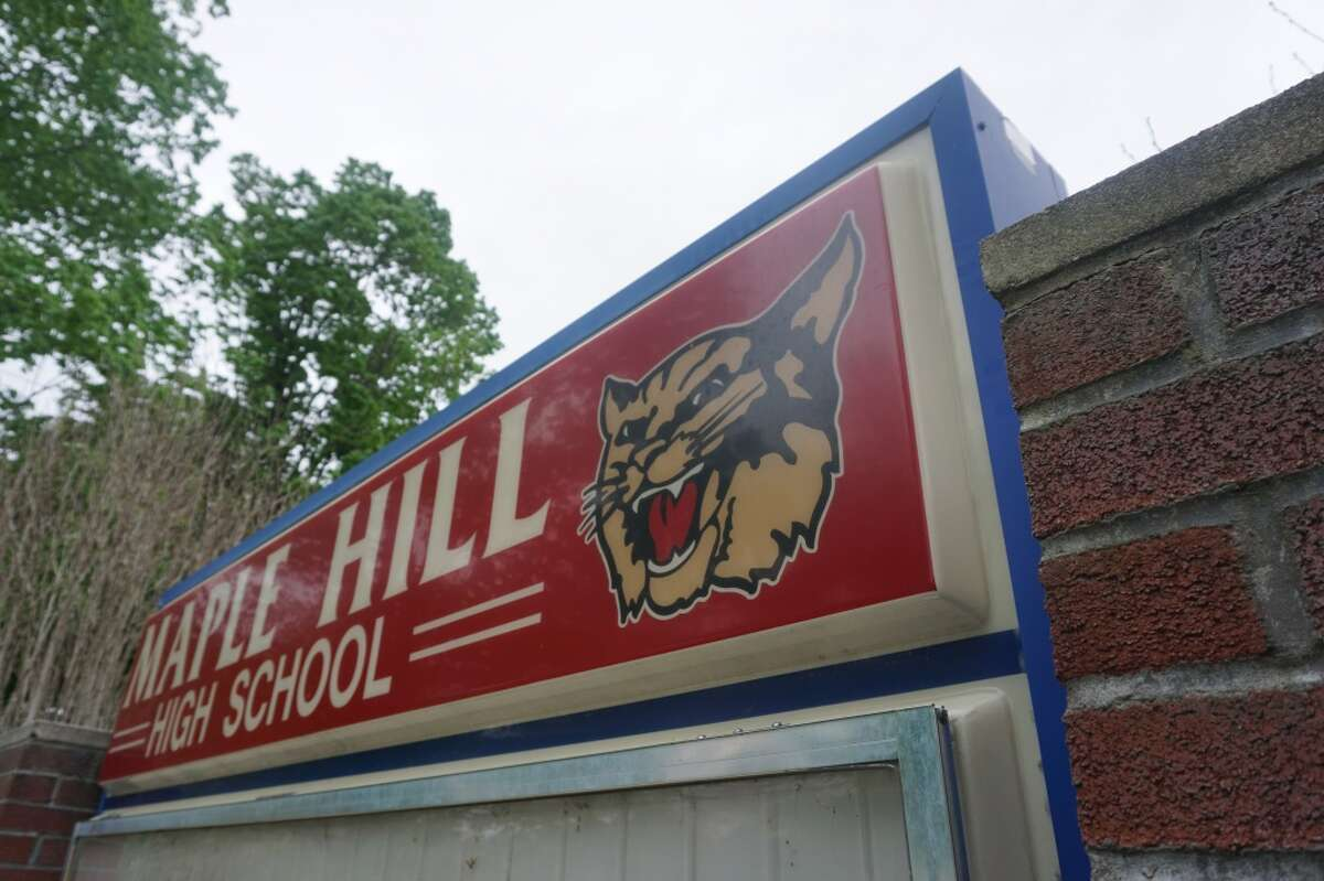 The sign outside Maple Hill High School which is located at 1216 Maple Hill Rd. Photo: Dylan Rossiter/Times Union.