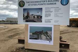 City breaks ground on dock master's building at Steel Point site in Bridgeport.