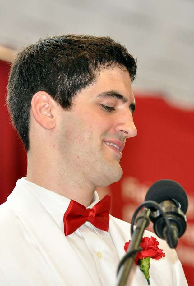 Brendan Bercik, Senior Speaker, of Fairfield, delivers the farewell address during Fairfield College Preparatory School's 68th Commencement ceremony on Sunday, June 6, 2010. Photo: Amy Mortensen / Connecticut Post Freelance