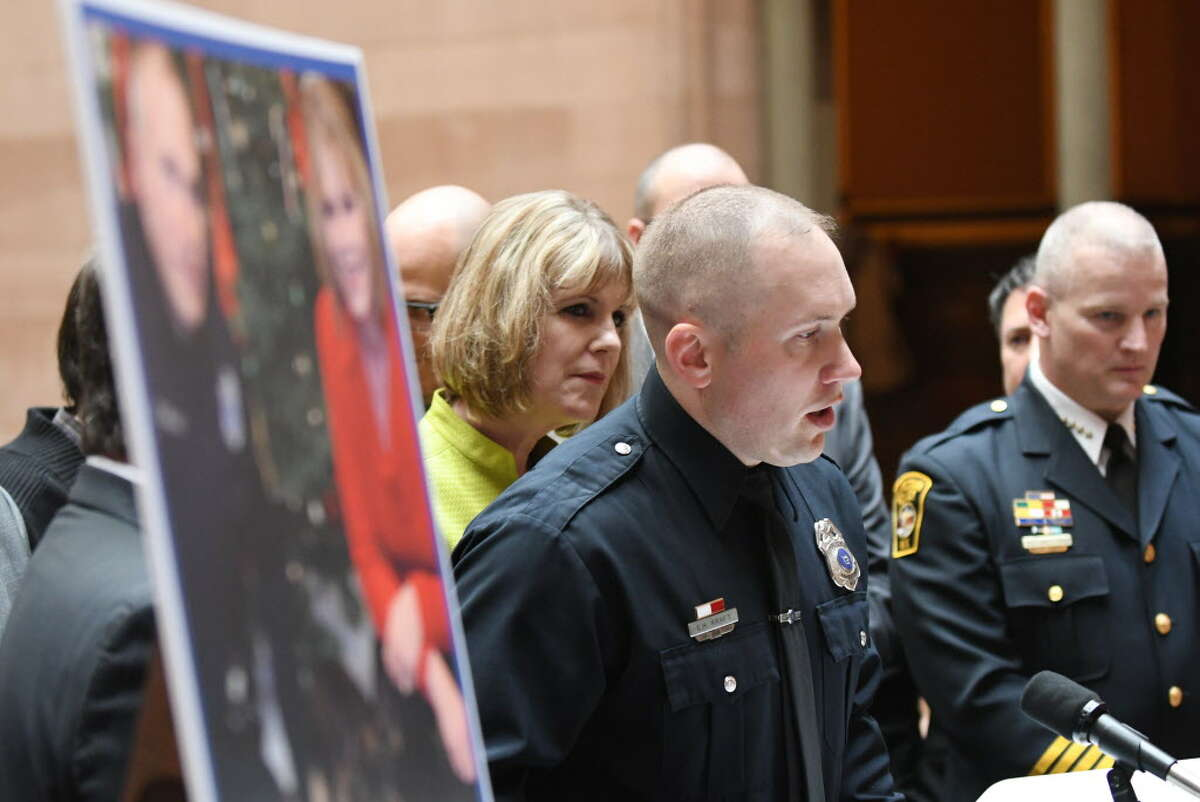 Jamestown Police Officer Erik Kraft speaks during a press conference where legislators backed a bill that would increase penalties for injuring police animals on Monday, May, 15, 2017, at the Capitol in Albany, N.Y. (Will Waldron/Times Union)