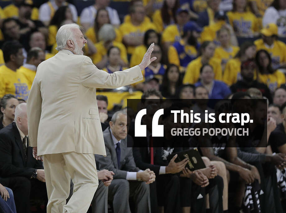 Spurs coach Gregg Popovich on Monday morning went scorched earth on Zaza Pachulia after Kawhi Leonard re-injured his sprained ankle in Game 1 of the Western Conference Finals against the Golden State Warriors. Photo: Carlos Avila Gonzalez/San Francisco Chronicle