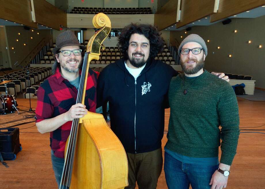 "From left, James Gasgogne, Steve Struss and Dustin LaDuke recorded the music in ""A Crosswalk in Time,"" which premiere Monday in Saratoga Springs. (Provided photo)"