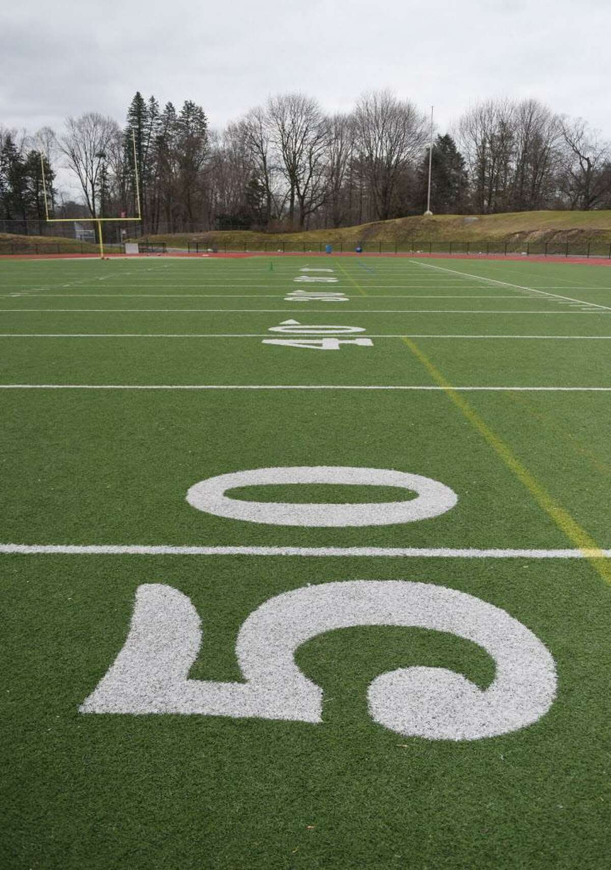The artificial turf playing surface at Greenwich High School's Cardinals Stadium field in Greenwich, Conn. Wednesday, Feb. 17, 2016. New concerns have risen about artificial turf fields as the district debates installing them on its middle school fields.