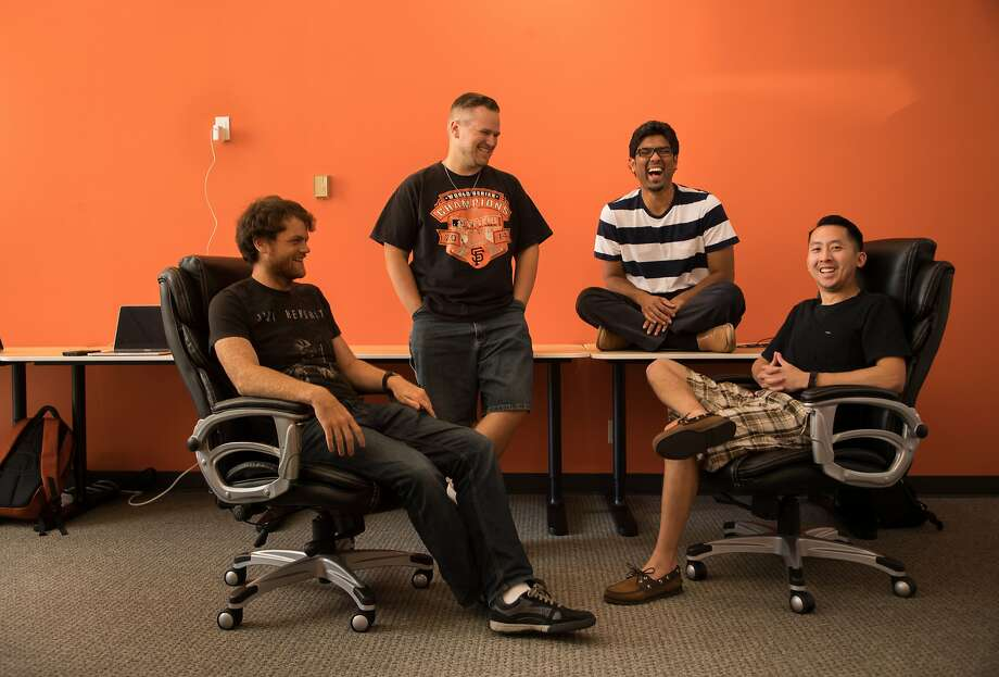 Ian Conway, Geoff Neal, Pluto AI founder Prateek Joshi and Jimmy Nguyen. Photo: Paul Kuroda, Special To The Chronicle