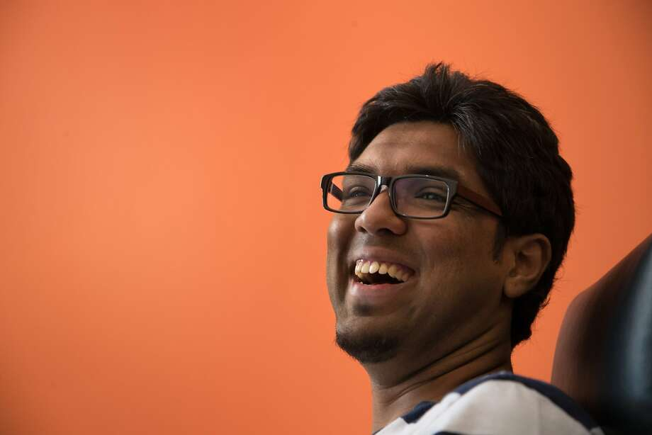 Prateek Joshi, founder of Pluto AI, speaks to his engineering team in his new office on May 15, 2017 in Palo Alto. Photo: Paul Kuroda, Special To The Chronicle