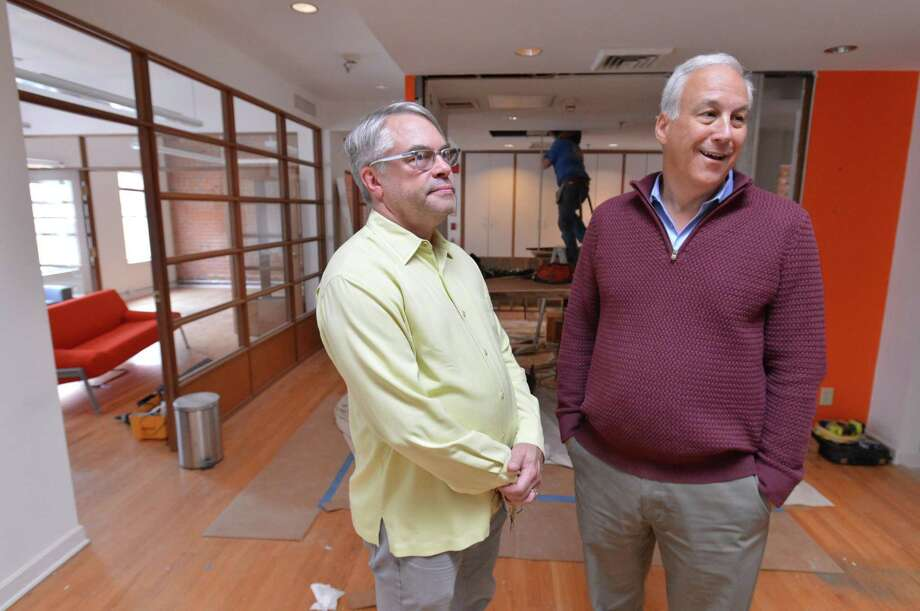 Co-founders Karl Heine and Bob Walker talk about their project for Sono Spaces at North Water Street in Norwalk. The new co-working facility will be in the center of SoNo and have the most up-to-date amenities. Photo: Alex Von Kleydorff / Hearst Connecticut Media / Norwalk Hour
