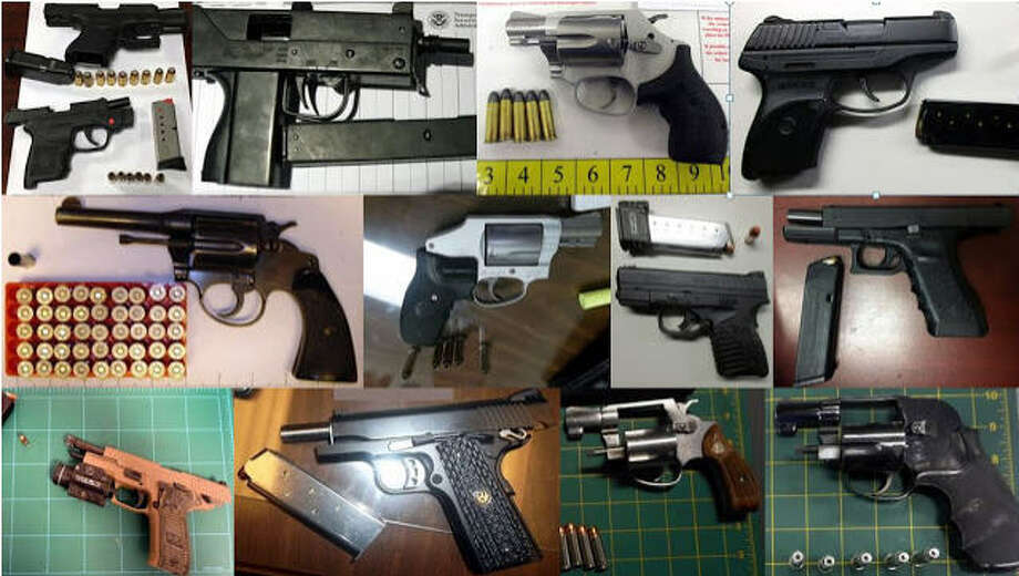 The Transportation Safety Administration took more than 3,300 guns from carry-on bags at airports around the country in 2016. Of that, 13 percent (448 weapons) were found at the three largest airports in Texas - Bush Intercontinental in Houston, Dallas-Fort Worth and Austin. Guns aren't the only thing TSA agents found, though.Scroll through the gallery to see what other weapons and explosives, along with guns, people tried to carry on to commercial airplanes Photo: Transportation Safety Administration