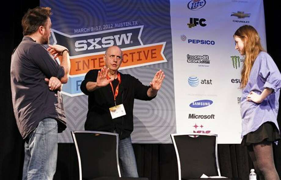 Jeffrey Tambor conducts an acting workshop with students Matthew Newton (left) and Kate Sheil during the 2012 SXSW Film Festival and Conference in Austin, Texas. Photo: Jack Plunkett, AP