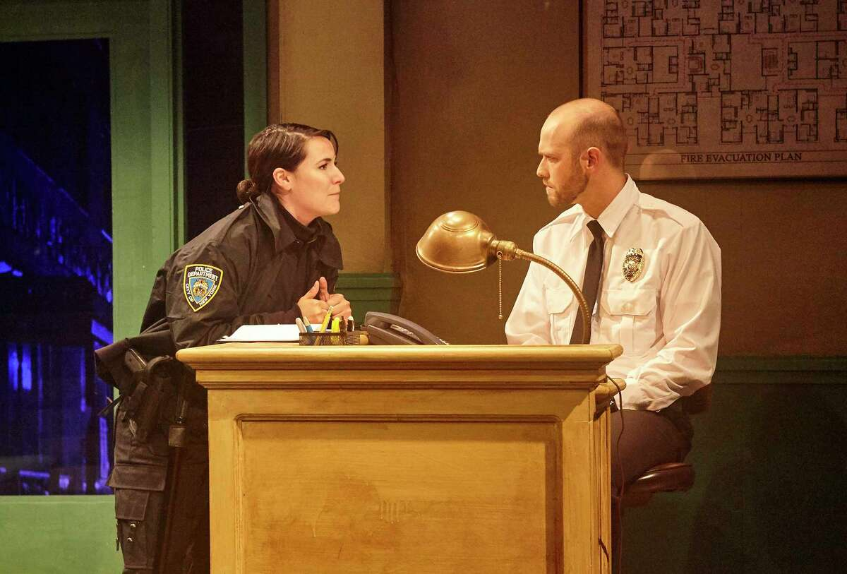 """Chelsea Ryan McCurdy and Adam Gibbs in 4th Wall Theatre Company's production of """"Lobby Hero"""""""