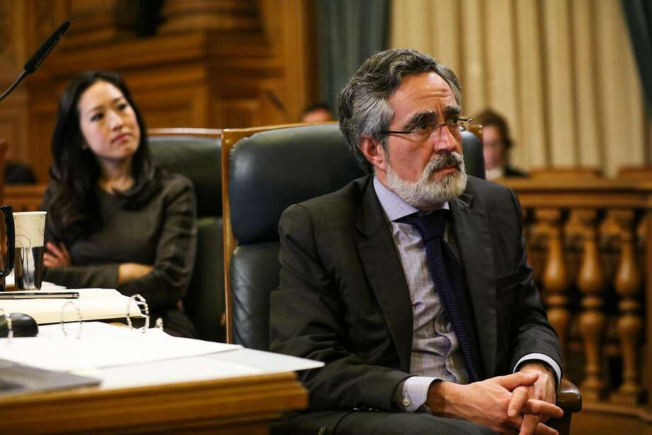 Supervisors Katy Tang and Aaron Peskin at a Board of Supervisors meeting last year. Photo: Gabrielle Lurie, Special To The Chronicle