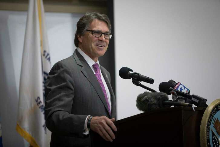 Secretary of the Department of Energy and former governor Texas, Rick Perry speaks during the kick-off ceremony of the Bridging the Gap VA Research Week 2017, Monday, May 15, 2017, in Houston.