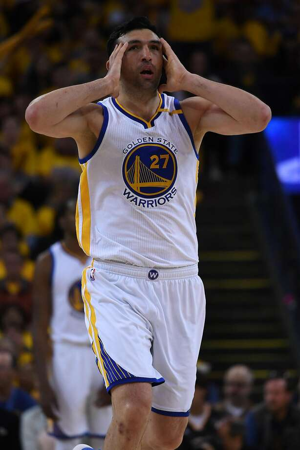 OAKLAND, CA - MAY 14:  Zaza Pachulia #27 of the Golden State Warriors reacts to a foul called against him during Game One of the NBA Western Conference Finals against the San Antonio Spurs at ORACLE Arena on May 14, 2017 in Oakland, California. NOTE TO USER: User expressly acknowledges and agrees that, by downloading and or using this photograph, User is consenting to the terms and conditions of the Getty Images License Agreement.  (Photo by Thearon W. Henderson/Getty Images) Photo: Thearon W. Henderson, Getty Images