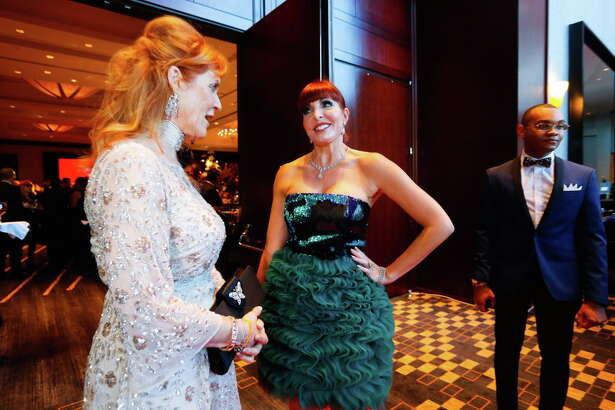 "Sarah Ferguson talks with Staci Henderson during Virtuosi of Houston's ""Celebrating the United Kingdom"" gala concert and dinner on Saturday, May 13, 2017, in Houston. (Annie Mulligan / Freelance)"