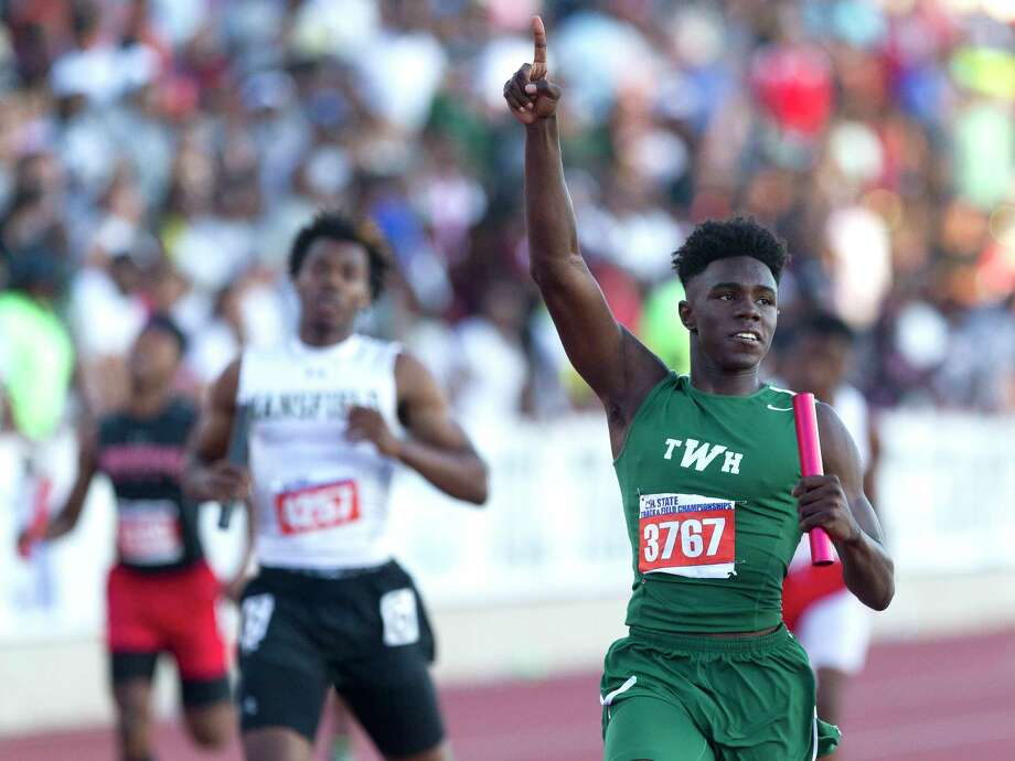 Kesean Carter of The Woodlands celebrates after winning the 6A boys 4x200 meter relay during the UIL State Track & Field Championships, Saturday, May 13, 2017, in Austin. Photo: Jason Fochtman, Staff Photographer / © 2017 Houston Chronicle