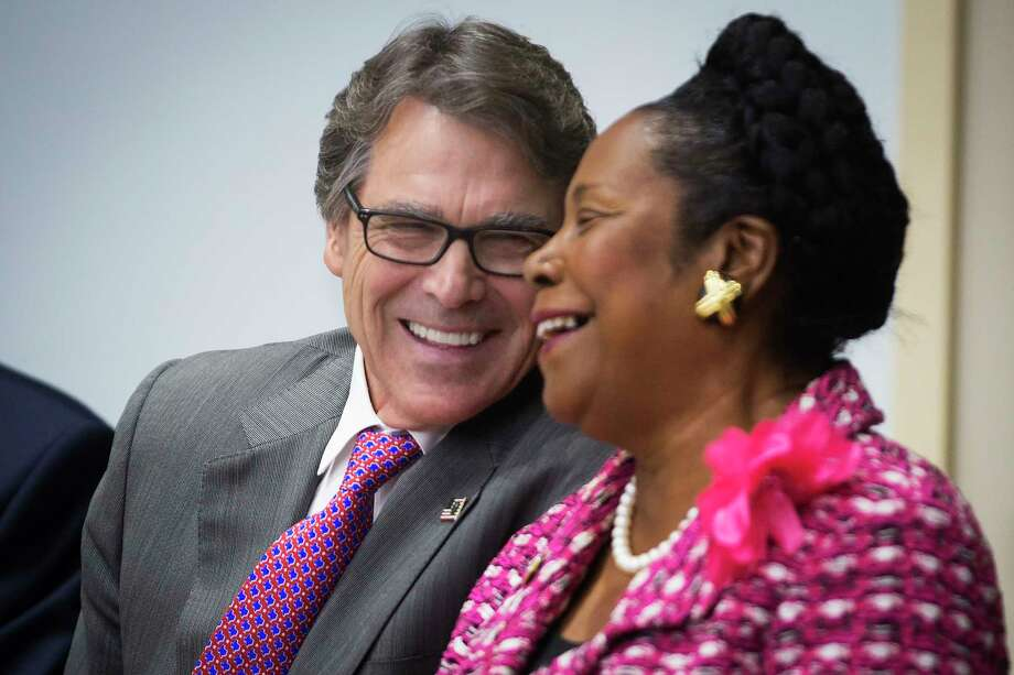 Department of Energy Secretary Rick Perry and U.S. Rep Sheila Jackson Lee attended a ceremony Monday at the Michael E. DeBakey VA Medical Center. Photo: Marie D. De Jesus, Staff / © 2017 Houston Chronicle