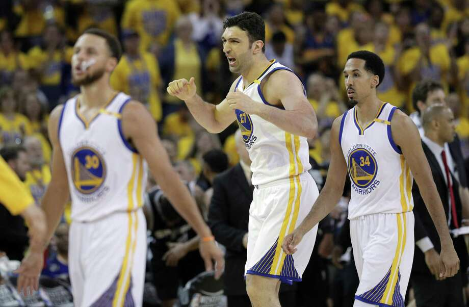 Golden State Warriors' Zaza Pachulia argues a call in the second quarter during Game 1 of the Western Conference finals at Oracle Arena on May 14, 2017 in Oakland, Calif. Photo: Carlos Avila Gonzalez /San Francisco Chronicle / online_yes