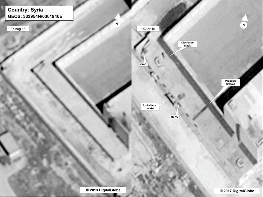 The State Department says this building in a prison complex in Syria was modified to support a crematorium, where the Trump administration says the Syrian government burned thousands of victims of mass killings. Photo: HOGP / State Department/DigitalGlobe