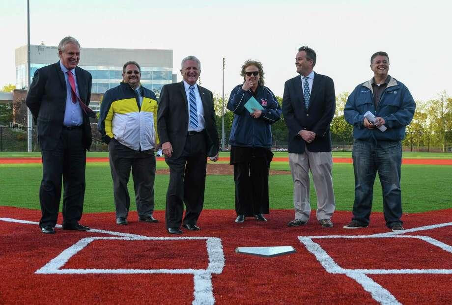 On hand for the opening ceremony of Brien McMahon's new baseball field was (left to right) Norwalk Superintendent Dr. Steven Adamowski, Norwalk Director of Parks and Recreation Michael Mocciae, Norwalk Mayor Harry Rilling, Brien McMahon Principal Suzanne Koroshetz, Chair of the Brien McMahon Dugout Club Richard Matthews, and Art Kassimis. Photo: Gregory Vasil / For Hearst Connecticut Media / Connecticut Post Freelance