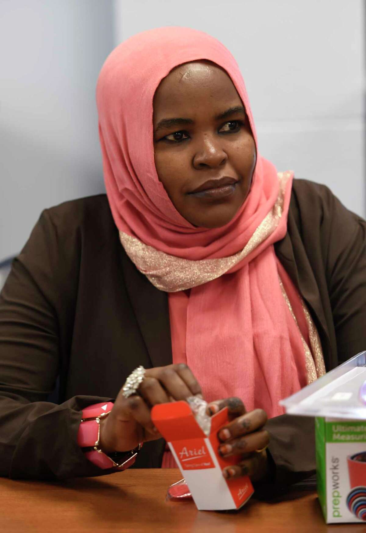 Syrian refugee Fatima Salih listens to instruction on healthy habits and how to support themselves in United State Monday May 15, 2017 in a first of it's kind class at the Whitney M. Young Health Center in Albany, N.Y. (Skip Dickstein/Times Union)
