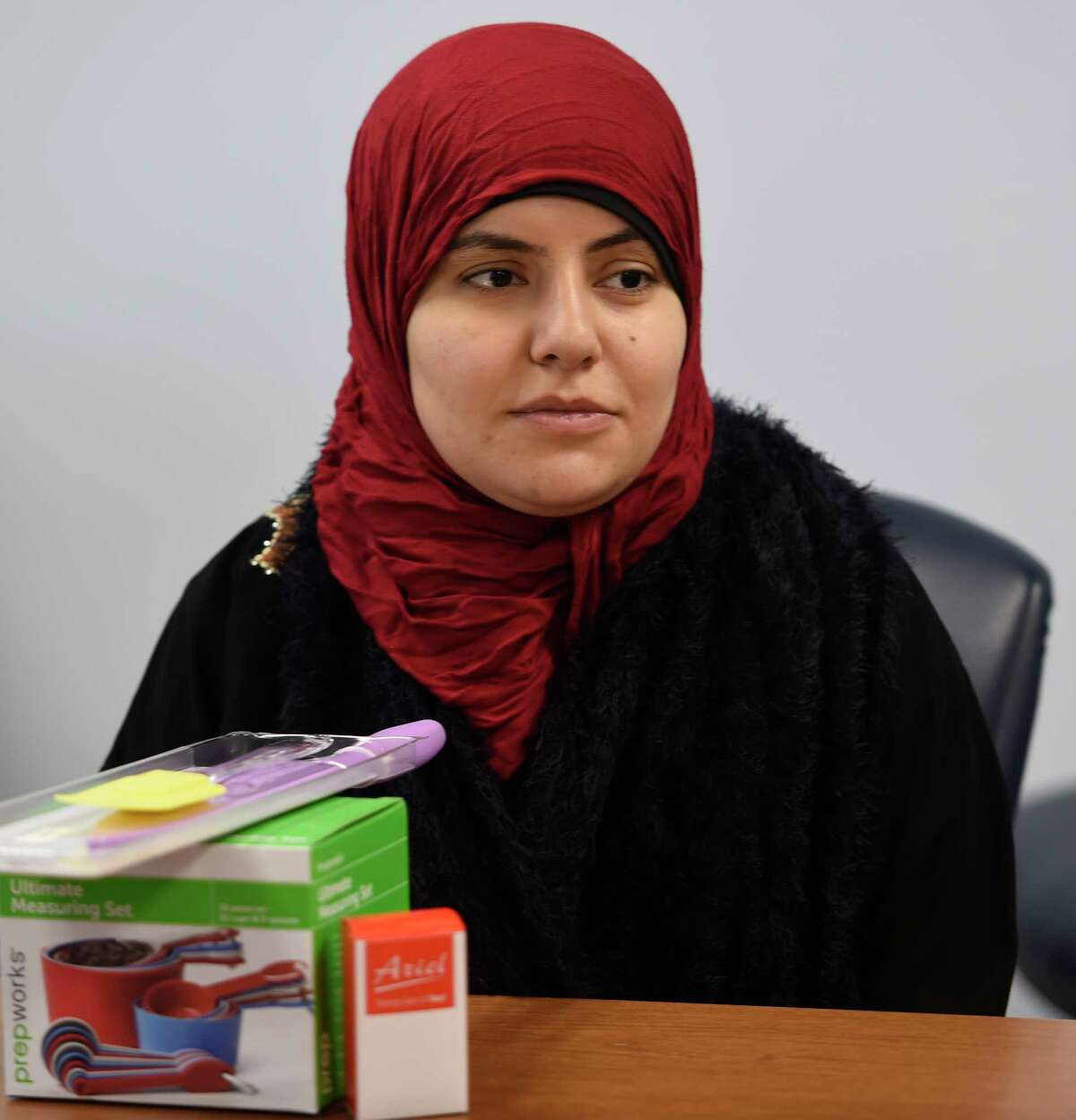 Syrian refugee Lubna al Shirfi listens to instruction on healthy habits and how to support themselves in United State Monday May 15, 2017 in a first of it's kind class at the Whitney M. Young Health Center in Albany, N.Y. (Skip Dickstein/Times Union)