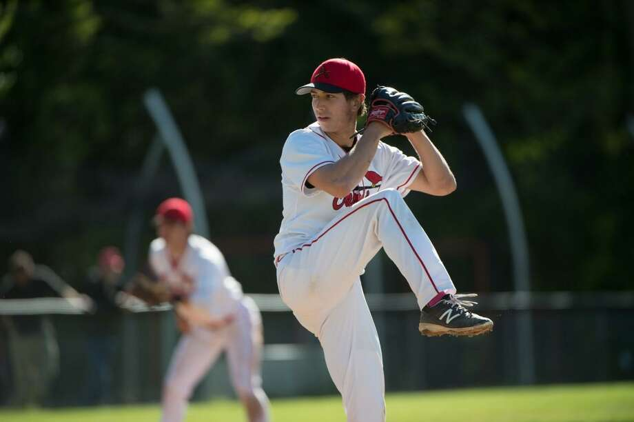 Greenwich senior Anthony Ferraro struck out 10 batters in the Cardinals' 15-5 win over Fairfield Warde on Monday. Photo: Contributed Photo