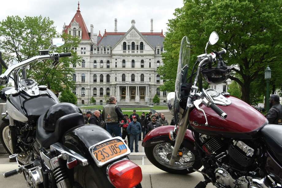 Motorcyclists rally at West Capitol Park to advance motorcycle legislation and promote safety and awareness on Monday, May, 15, in Albany, N.Y. The event was organized by the American Bikers Aimed Toward Education (ABATE) of New York, a not for profit biker advocacy group. State Street was closed in front the Capitol was closed for biker parking. (Will Waldron/Times Union) Photo: Will Waldron