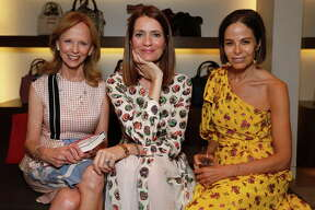 HOUSTON, TX - MAY 15: (L-R)  Susan Sarofim, Plum Sykes and Alison Sarofim at the 'Party Girls Die in Pearls' book launch at Burberry Houston at The Galleria on May 15, 2017 in Houston, Texas.