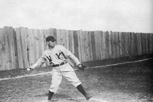 View of Hall of Fame baseball pitcher Joe 'Iron Man' McGinnity at an unidentified spring training site, circa 1904. (Photo by Transcendental Graphics/Getty Images)