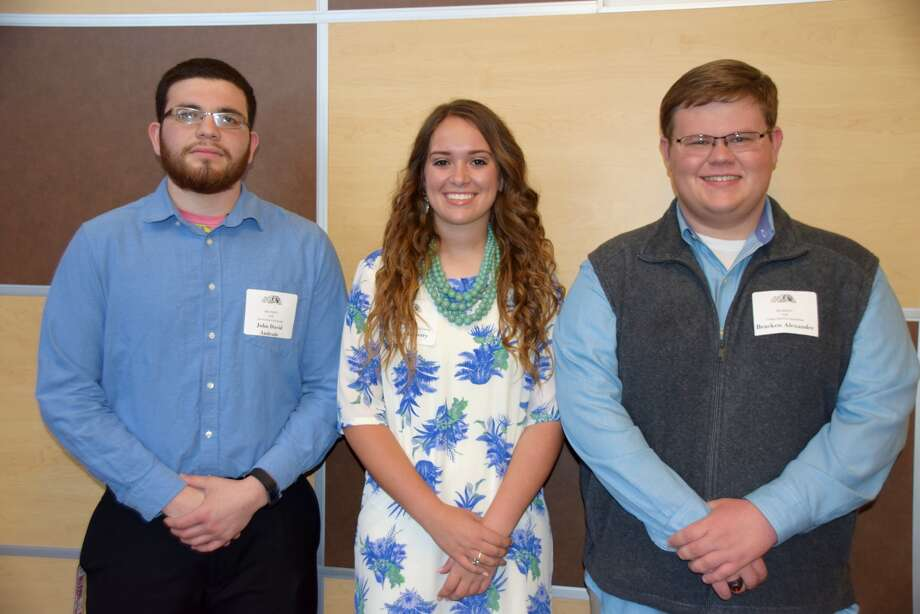 Plainview High School senior Macey Mayberry (center) was named 2017 class valedictorian, Bracken Alexander (right) was named salutatorian, and John David Andrade (left) was honored as the winner of the Lavern Roach Memorial Award at the annual Plainview High School Scholarship and Awards Assembly on Monday evening.