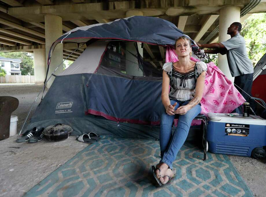 Tammy Kohr, one of three plaintiffs in the lawsuit being filed by the ACLU of Texas, asking a federal judge to halt the city's new ordinances limiting panhandling and camping in public, in her encampment near Wheeler and Caroline, Monday, May 15, 2017, in Houston. Photo: Karen Warren, Houston Chronicle / 2017 Houston Chronicle