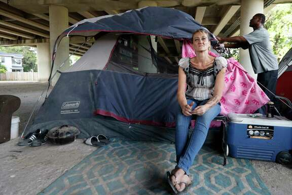 Tammy Kohr, one of three plaintiffs in the lawsuit being filed by the ACLU of Texas, asking a federal judge to halt the city's new ordinances limiting panhandling and camping in public, in her encampment near Wheeler and Caroline, Monday, May 15, 2017, in Houston.