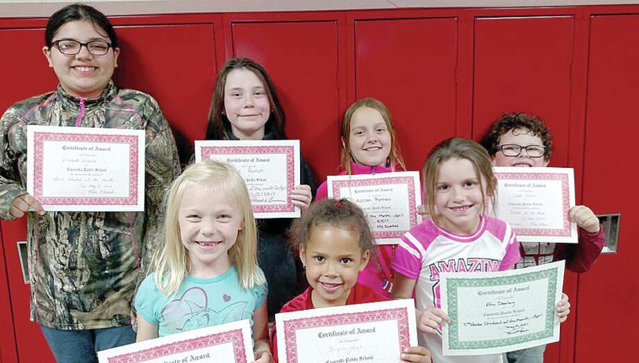 The Caseville Elementary students of the month are (from back, left to right, and front, left to right), Elizabeth Gibbard (fifth grade), Audrie Paxton (fourth grade), Addison Putman (third grade), Caden Schmitt (kindergarten), Morgan Zagorski (first grade), Briyah Witt (first grade), and Erin Dooley (second grade). (Submitted Photo) Photo: Submitted Photo