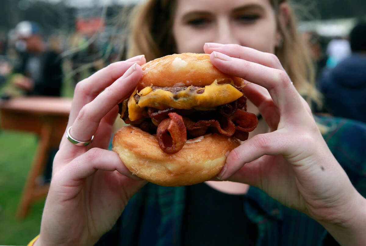 Hayes Valley's Straw Carnival Fare served the Ringmaster -- a glazed doughnut bun cheeseburger -- at Outside Lands in 2016.