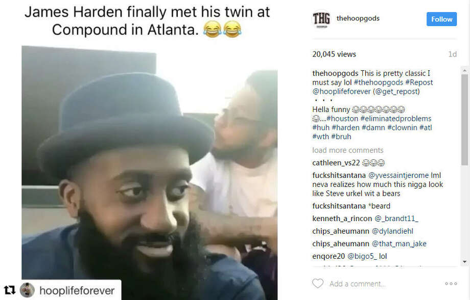 James Harden meets his beard twin in Atlanta