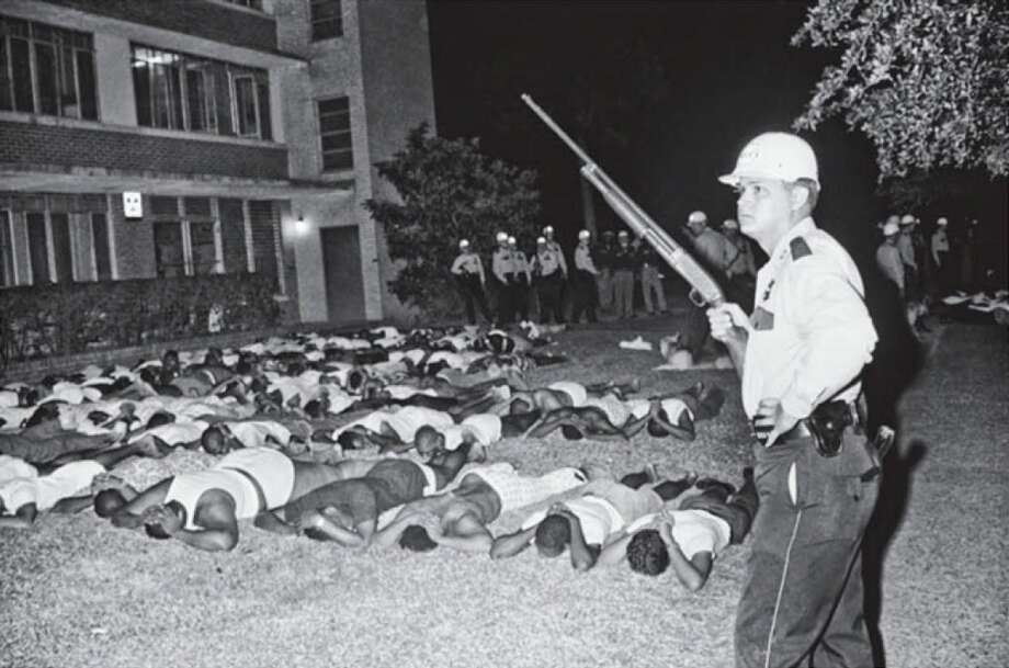 TSU students outside Lanier Dormitory on the early morning of Wednesday, May 17, 1967. Photo: Bettman Corbis Images