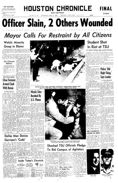 Front page of the Houston Chronicle on Wednesday, May 17, 1967. Photo: Houston Chronicle / Houston Chronicle