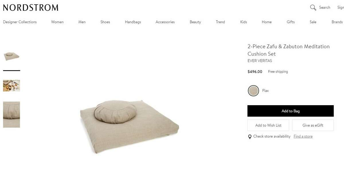This Gwyenth Paltrow-approved, two-cushion meditation chushion set featured on her site,Goop, is being sold by Nordstrom for $496. Photo: Nordstrom