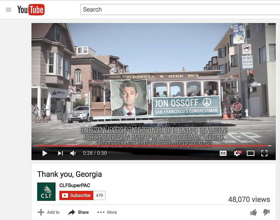 An ad funded by a Republican Super PAC alters a shot of a San Francisco cable car to attack Democratic House candidate Jon Ossoff.