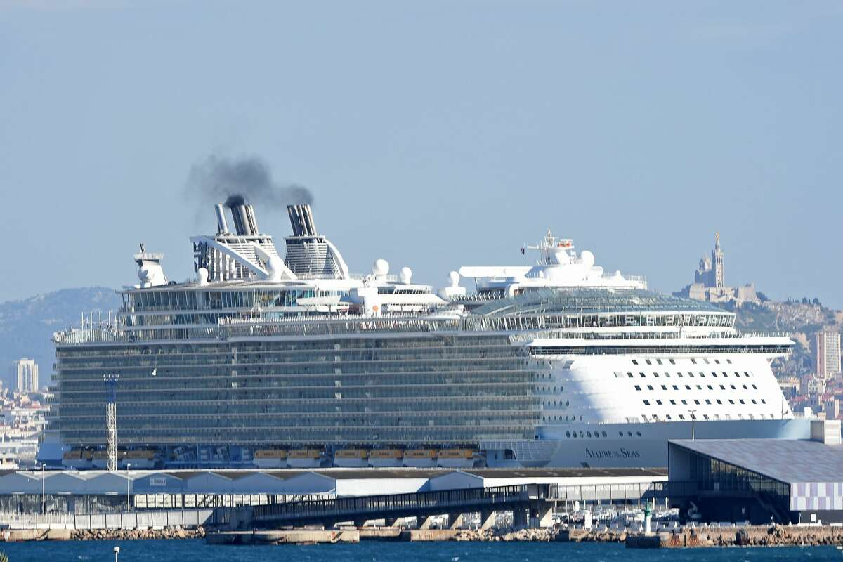 MS Allure of the Seas, the largest passenger ship ever constructed, leaves the French Mediterranean Sea port of Marseille on May 26, 2015, after its first stop at this port.