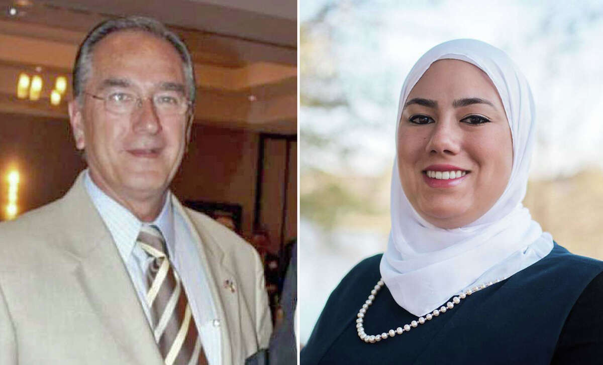 Pearland City Council Pos. 7 candidates Woody Owens, left, and Dalia Kasseb.