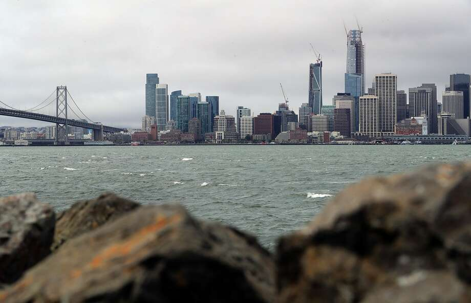 The problem of sea level rise along San Francisco Bay is likely to be exacerbated by the sinking shoreline, a new study finds. Treasure Island is slipping nearly 3/4 of an inch per year. Photo: Michael Macor, The Chronicle