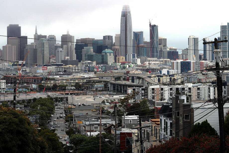 Salesforce Tower at First and Mission Streets in downtown San Francisco, Ca., as seen from Potrero Hill on Tuesday May 16, 2017. Photo: Michael Macor, The Chronicle