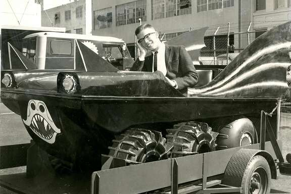 """""""Batmobile"""" winner of the San Francisco Chronicle contest. The Chronicle had started including Batman on its comics page. People were asked to write in about the new comic. The winner won the amphibious vehicle. Judges were Hal Lipset, Carter B. Smith, Art Hoppe and Carol Doda. June 13, 1966"""