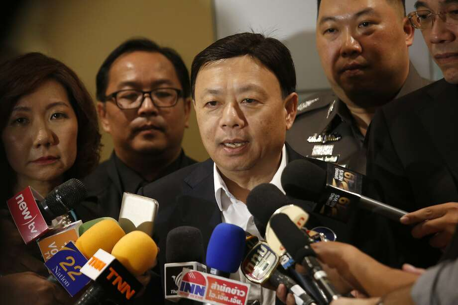 Thailand's National Broadcasting and Telecommunication Commission Secretary-General Takorn Tantasith talks to reporters in Bangkok, Thailand, Tuesday, May 16, 2017. Thailand has backed off a threat to block Facebook in the country, instead serving the social media site with court orders to remove content that the government deems illegal. Thailand made the threat last week as it wanted Facebook to block content it deems a threat to national security or in violation of the country's lese majeste law, which makes insults to the monarchy punishable by up to 15 years in prison. (AP Photo/Sakchai Lalit) Photo: Sakchai Lalit, Associated Press