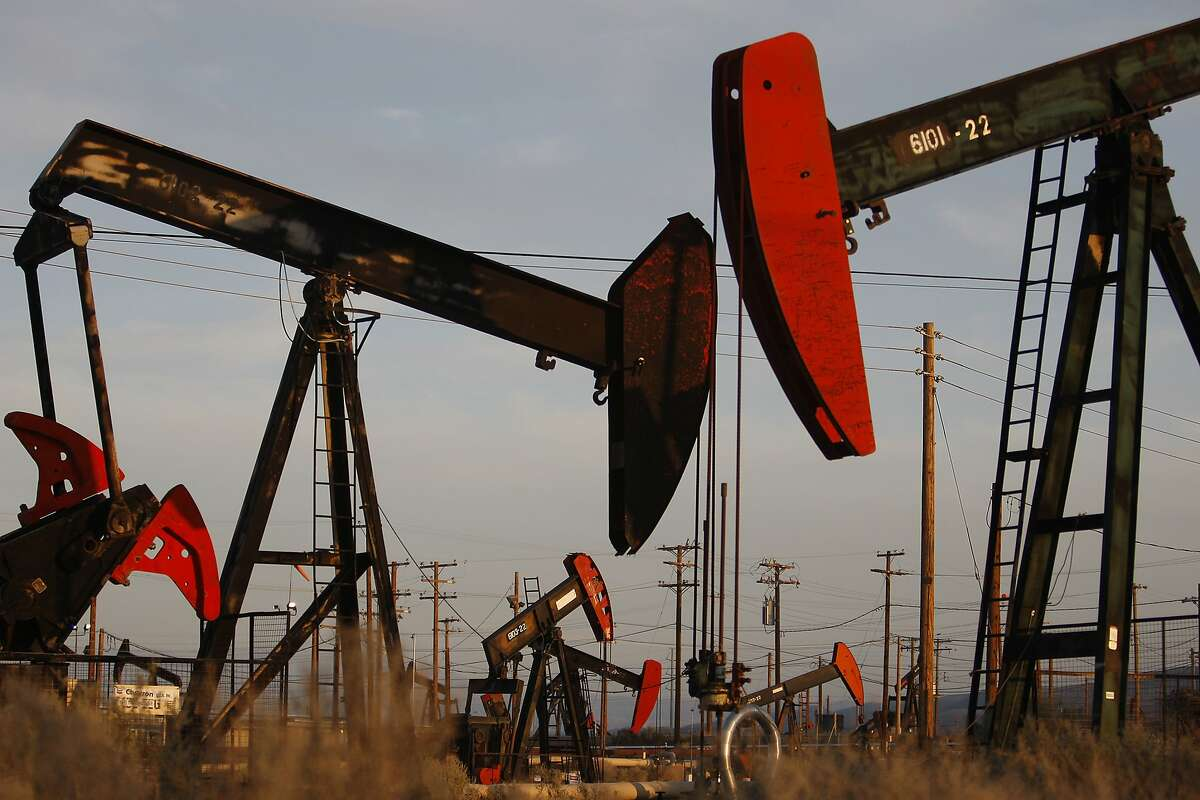 Pump jacks and wells are seen in an oil field on the Monterey Shale formation where gas and oil extraction using hydraulic fracturing, or fracking, is on the verge of a boom on March 23, 2014 near McKittrick, California. Critics of fracking in California