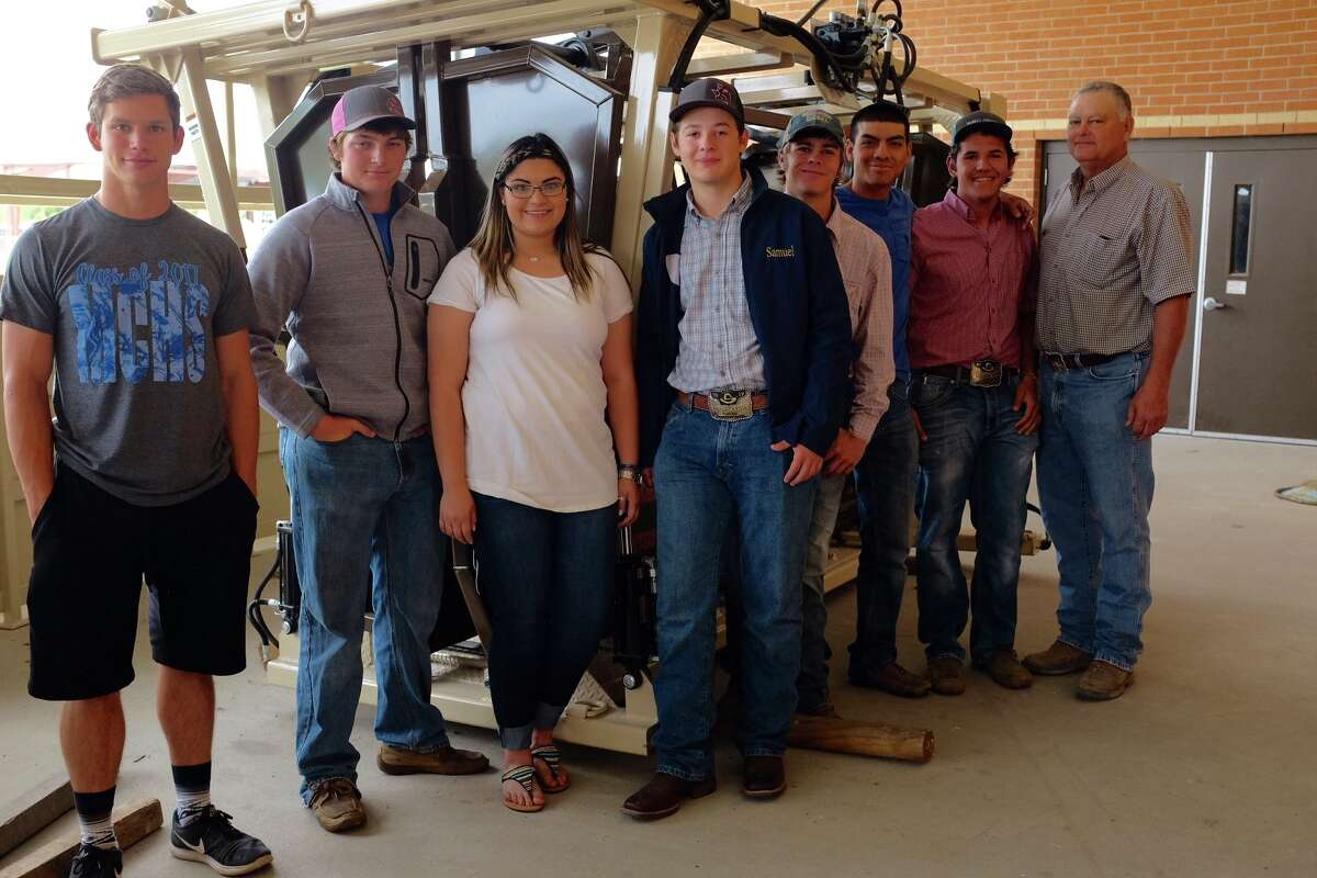 McMullen High School's 2017 Agricultural Mechanics team: Covy Harper, Mirza Bazan, Hilario Ramon, Payton Atkinson, Samuel Layton, Carter Garcia, Joe Melendez, and teacher Barry Randalph.